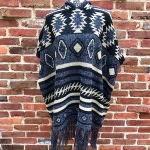BACIANO Boho Wool Aztec Tribal Hood Fringe Poncho